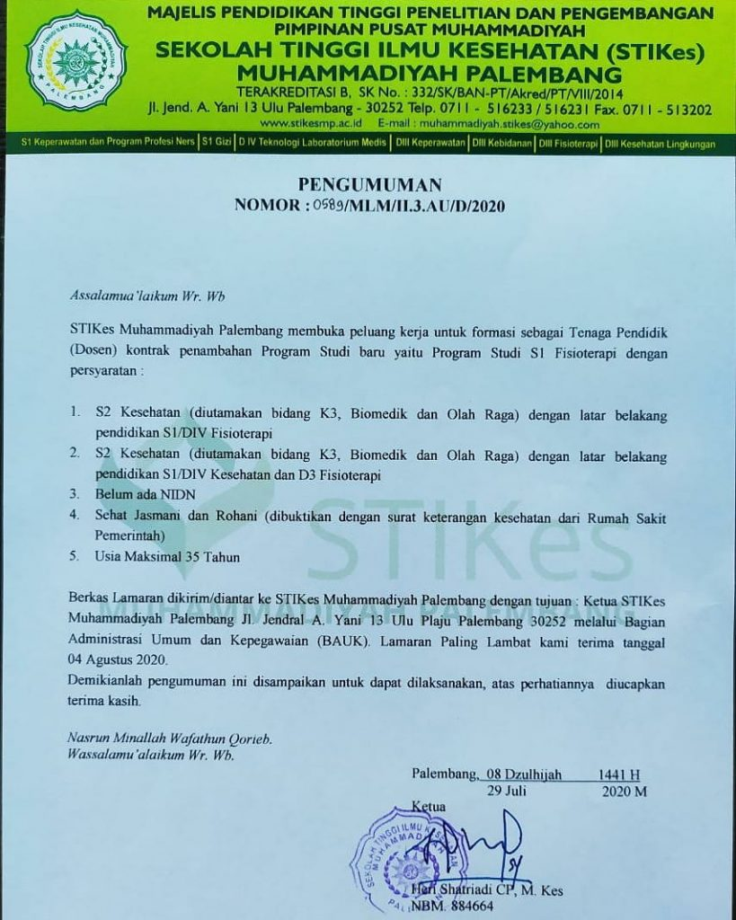 Pengumuman Lowongan Kerja Ikest Muhammadiyah Palembang